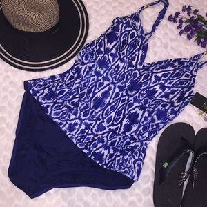 Lauren Ralph V Ruched Printed Bodice Swimsuit Blue